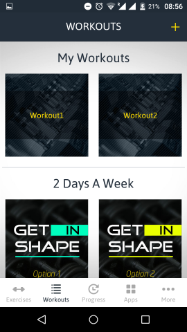 Gym Workouts - Workouts Section